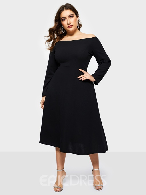Ericdress Plus Size Patchwork Mid-Calf Long Sleeve Sexy Plain Dress
