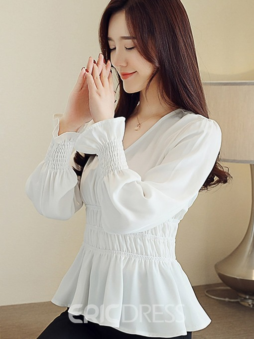 Ericdress Flare Sleeve V-Neck Plain Standard Blouse