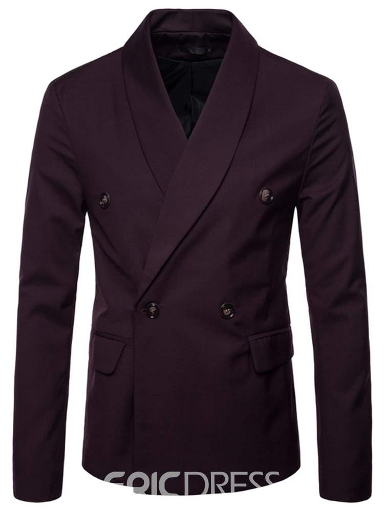 Ericdress Plain Double-Breasted Mens Causual Blazer