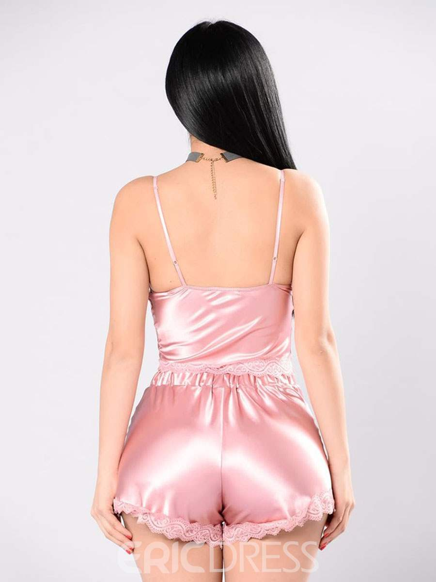 Ericdress Sexy Plain Lace-Up Satin Pajama Camisole Short Sets