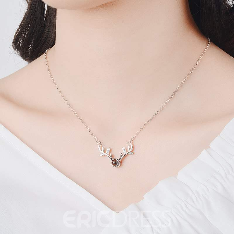 Ericdress Deer Antler Pendant Necklace