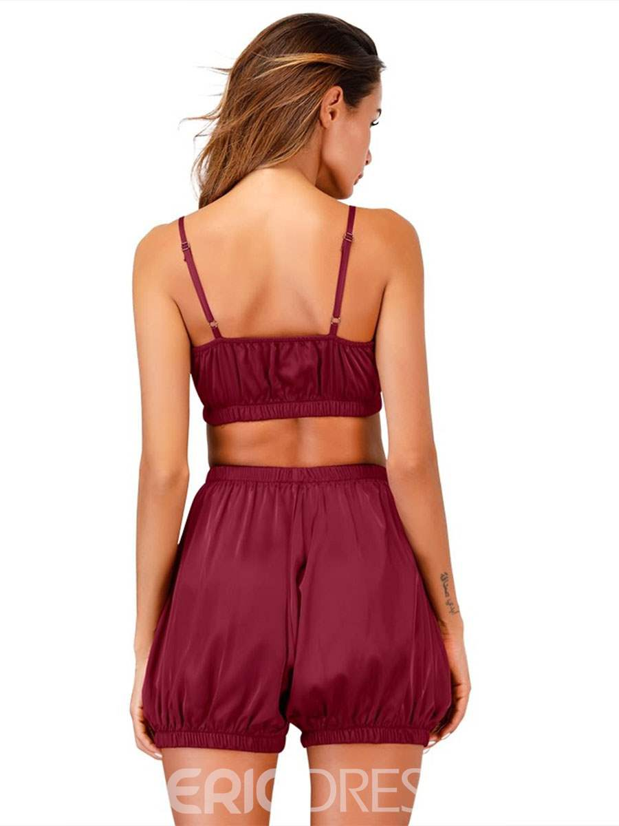 Ericdress Pleated Sexy Satin Pajama Camisole Short Sets PJS Sets