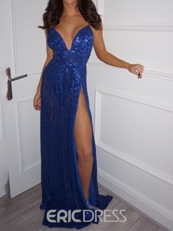 Ericdress Spaghetti Straps A-Line Evening Dress With Side Slit