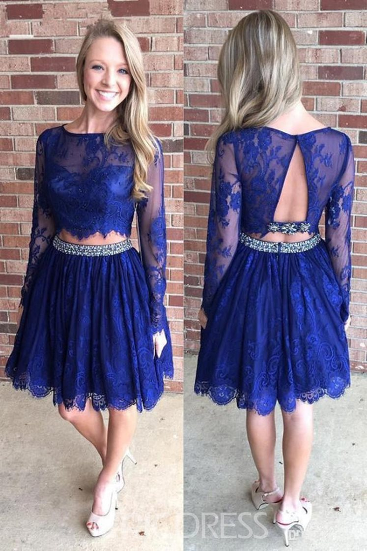 Ericdress Knee-Length Lace Long Sleeves Bateau Cocktail Dress