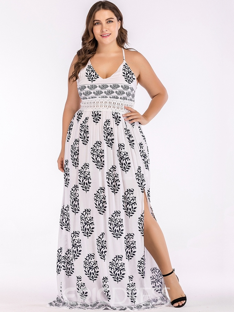 Ericdress Plus Size V-Neck Print Floor-Length Plant Spaghetti Strap Dress