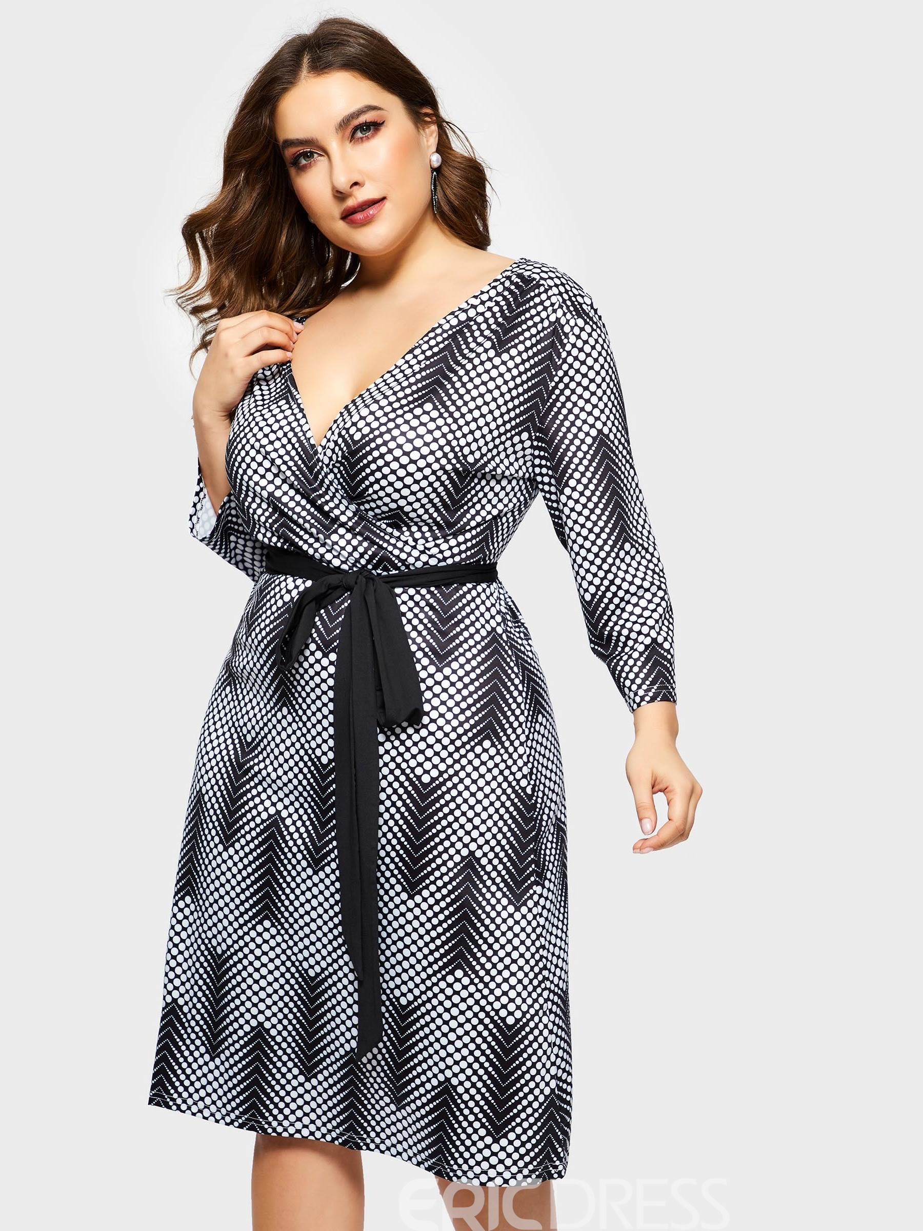 492e2ad02285 Ericdress Plus Size V-Neck Print Three-Quarter Sleeve Pencil High Waist  Dress(14246735)