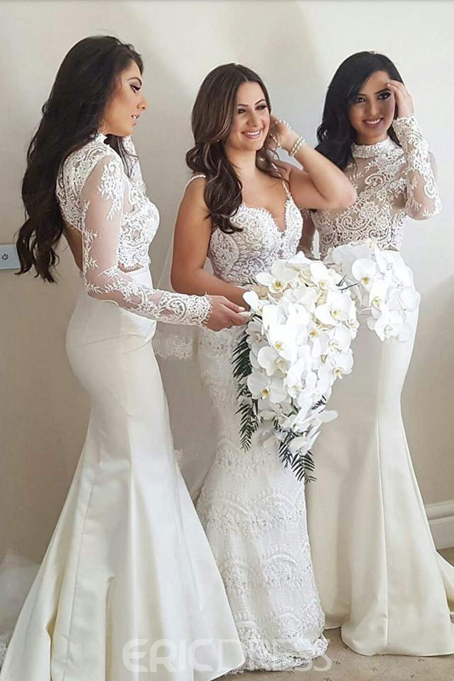 Ericdress Long Sleeve High Neck Mermaid Wedding Bridesmaid Dress