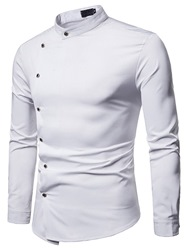Ericdress Plain Stand Collar Button Designed Mens Casual Shirt фото