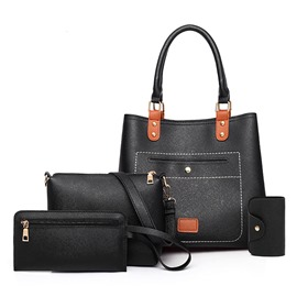 Ericdress Casual PU Plain Barrel-Shaped Bag Set