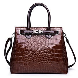 Ericdress Belt-Decorated PU Alligator Rectangle Handbag