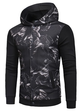 Ericdress Printed Patchwork Mens Cardigan Hooded Hoodies