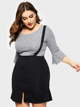 Ericdress Plus Size Button Skinny Sweater And Dress Two Piece Sets