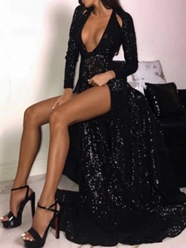 Ericdress Long Sleeves Split-Front V-Neck Black Sequin Evening Dress
