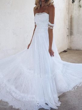 Floor-Length A-Line Strapless Beach Wedding Dress