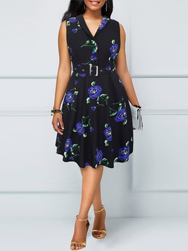 Ericdress Sleeveless Knee-Length Belt Pleated Print Dress