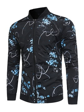 Ericdress Floral Print Stand Collar Mens Spring Jacket