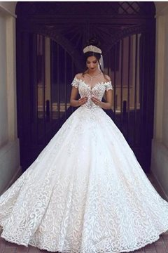 A-Line Floor-Length Lace Scoop Hall Wedding Dress