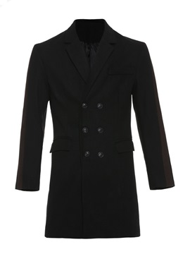 Ericdress Plain Double-Breasted Mid-Length Mens Woolen Coat