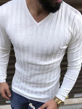 Ericdress Plain V-Neck Vertical Striped Mens Long Sleeve Slim T-shirt