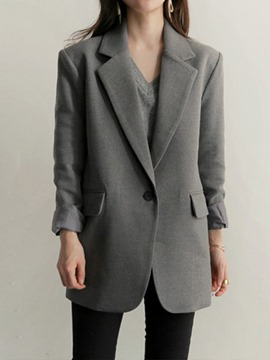 Ericdress Notched Lapel Plain One Button Regular Spring Casual Blazer