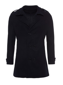 Ericdress Plain Double-Breasted Mens Mid-Length Slim Coat