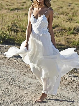 Ericdress Appliques Backless Spaghetti Straps Beach Wedding Dress