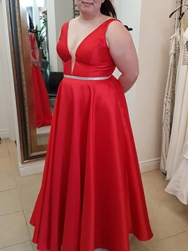Ericdress Straps A-Line Plus Size Prom Dress