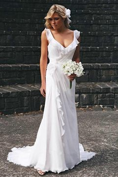 A-Line Floor-Length Backless Beach Wedding Dress
