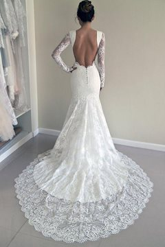 Lace Backless Mermaid Long Sleeve Wedding Dress