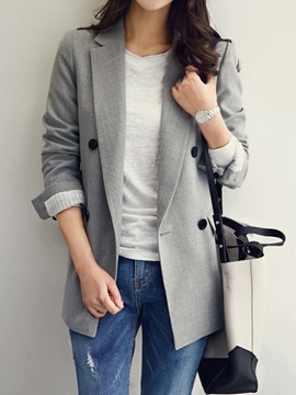 Ericdress Notched Lapel Long Sleeve Plain Regular Mid-Length Casual Blazer