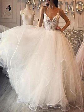 A-Line Lace Spaghetti Straps Wedding Dress