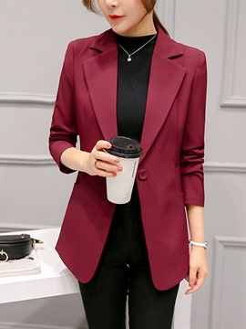 Ericdress Notched Lapel One Button Plain Regular Mid-Length Casual Blazer