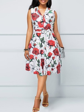 Ericdress Mid-Calf Sleeveless Print A-Line Vintage Dress