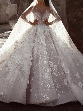 Ericdress Appliques Ball Gown Long Sleeves Church Wedding Dress