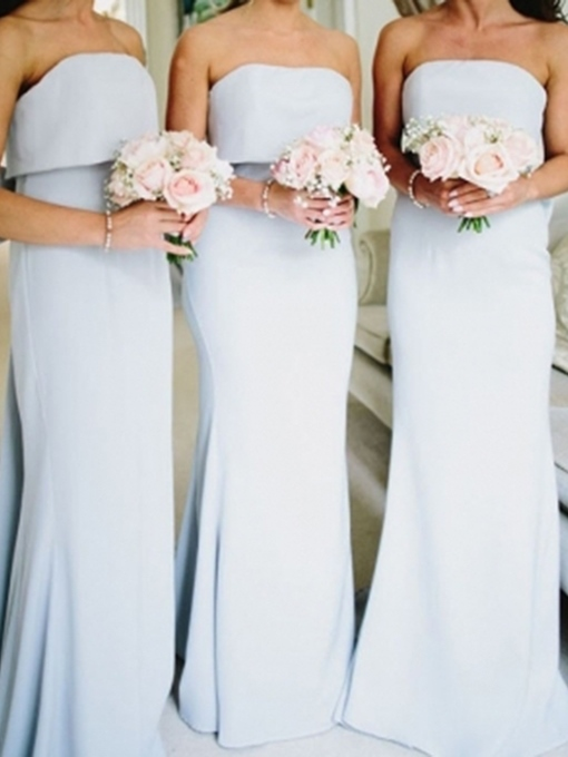 Ericdress Sheath Strapless Floor-Length Bridesmaid Dress 2019