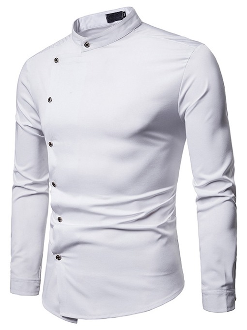 Ericdress Plain Stand Collar Button Designed Mens Casual Shirt
