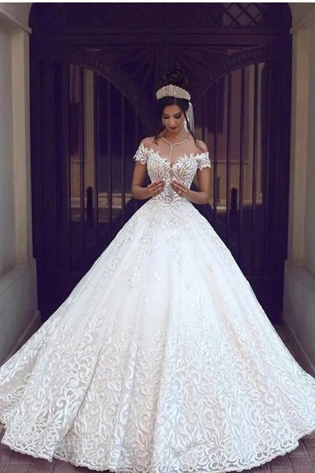 Ericdress Ball Gown Off the Shoulder Lace Wedding Dress