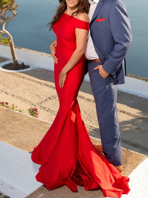 Sleeveless Off-The-Shoulder Mermaid Red Prom Dress