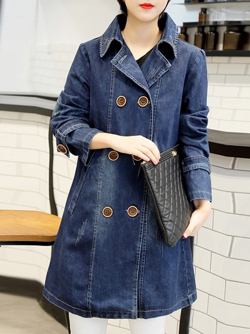 Ericdress Mid-Length Double-Breasted Office Lady Long Sleeve Trench Coat