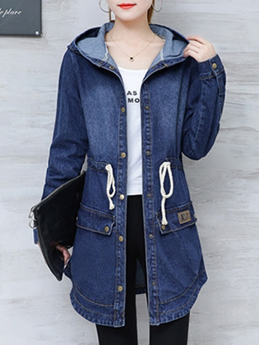 Ericdress Mid-Length Single-Breasted Hooded Slim Long Sleeve Trench Coat