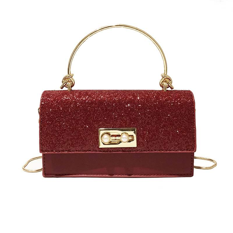 Ericdress Plain PU Sequins Rectangle Handbag