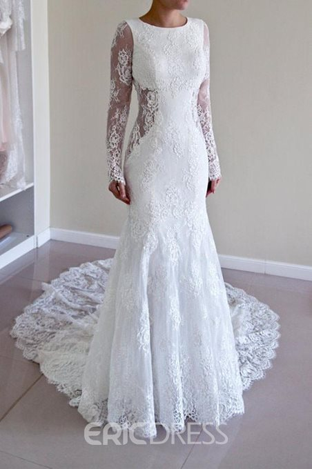 Ericdres Lace Backless Mermaid Long Sleeve Wedding Dress