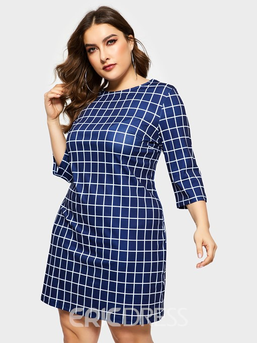 Ericdress Plus Size Three-Quarter Sleeve Round Neck Above Knee Spring Standard-Waist Dress