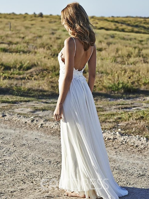 Ericdress Spaghetti Straps Appliques Backless Beach Wedding Dress