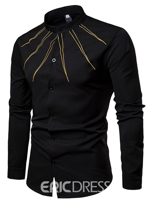 Ericdress Embroidery Stand Collar Mens Casual Slim Shirt