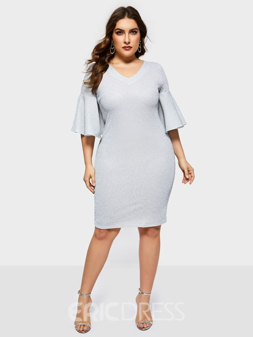 Ericdress Knee-Length V-Neck Half Sleeve Flare Sleeve Date Night Plus Size Dress