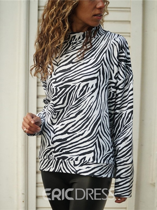 Ericdress Long Sleeve Standard Zebra Stripe Casual Loose T-Shirt