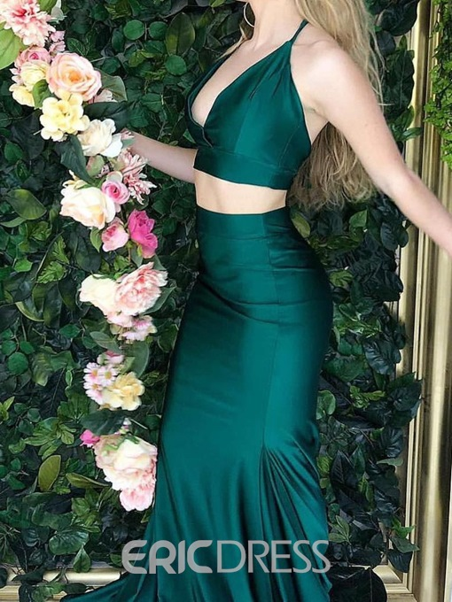 V-Neck Two Piece Sleeveless Mermaid Evening Dress