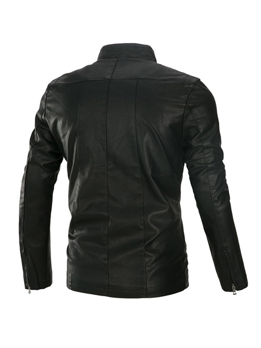 Ericdress Plain Stand Collar Zipper Button Mens Leather Jacket