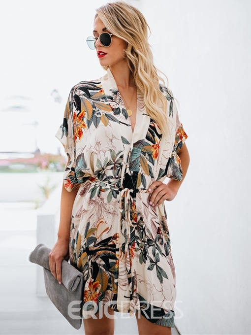 Ericdress Above Knee Short Sleeve V-Neck Floral Print Dress